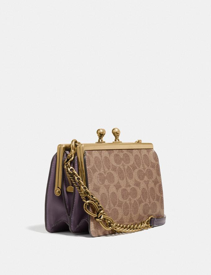Coach Double Frame Bag 19 in Signature Canvas With Rexy by Zhu Jingyi Tan/Dusty Lavender/Brass New Featured Rexy Remix Alternate View 1