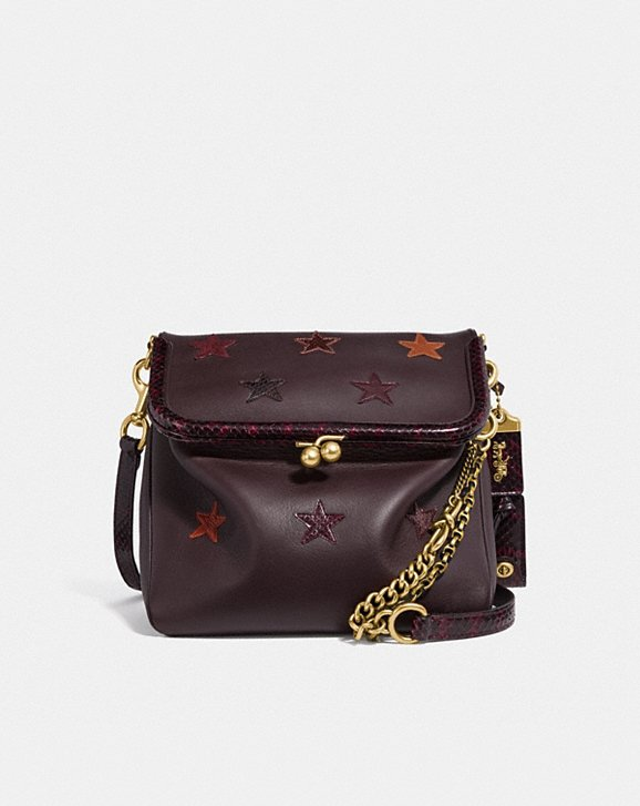 Coach RIDER BAG 24 WITH STAR APPLIQUE AND SNAKESKIN DETAIL