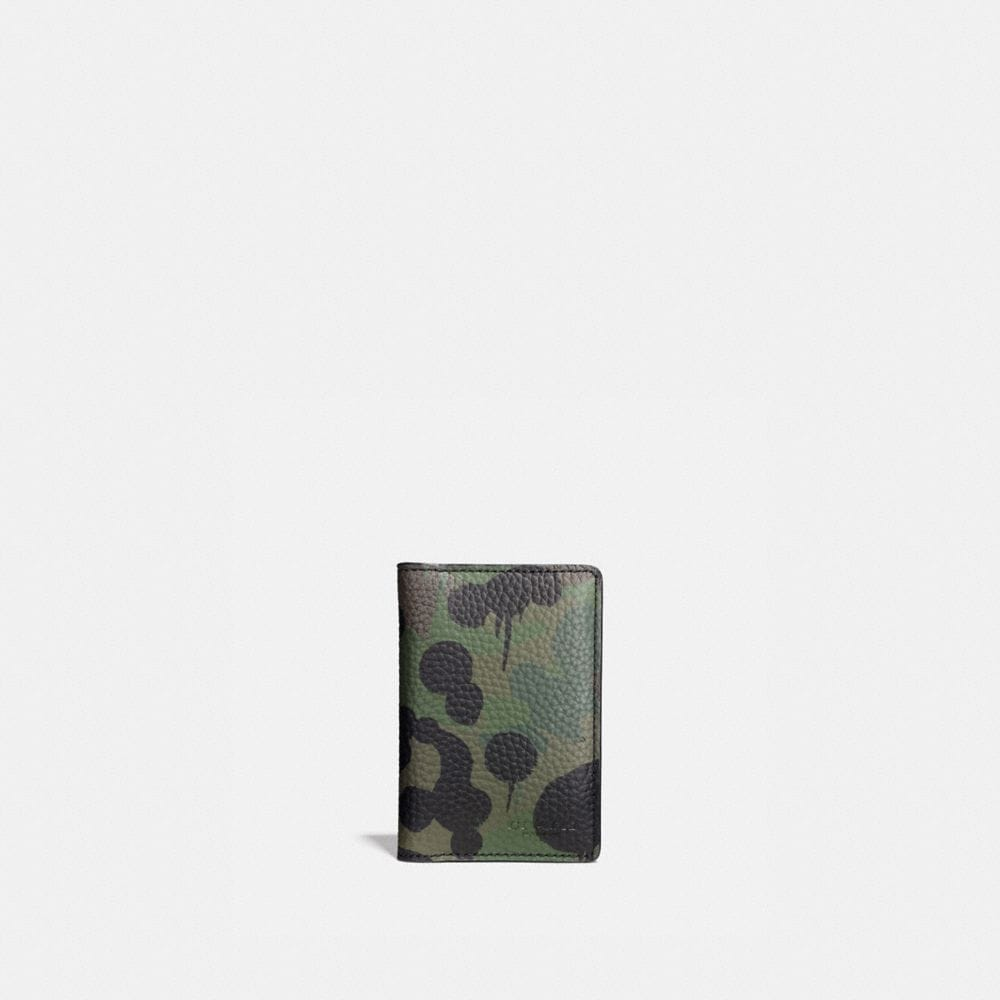 Card Wallet in Wild Beast Camo Print Pebble Leather