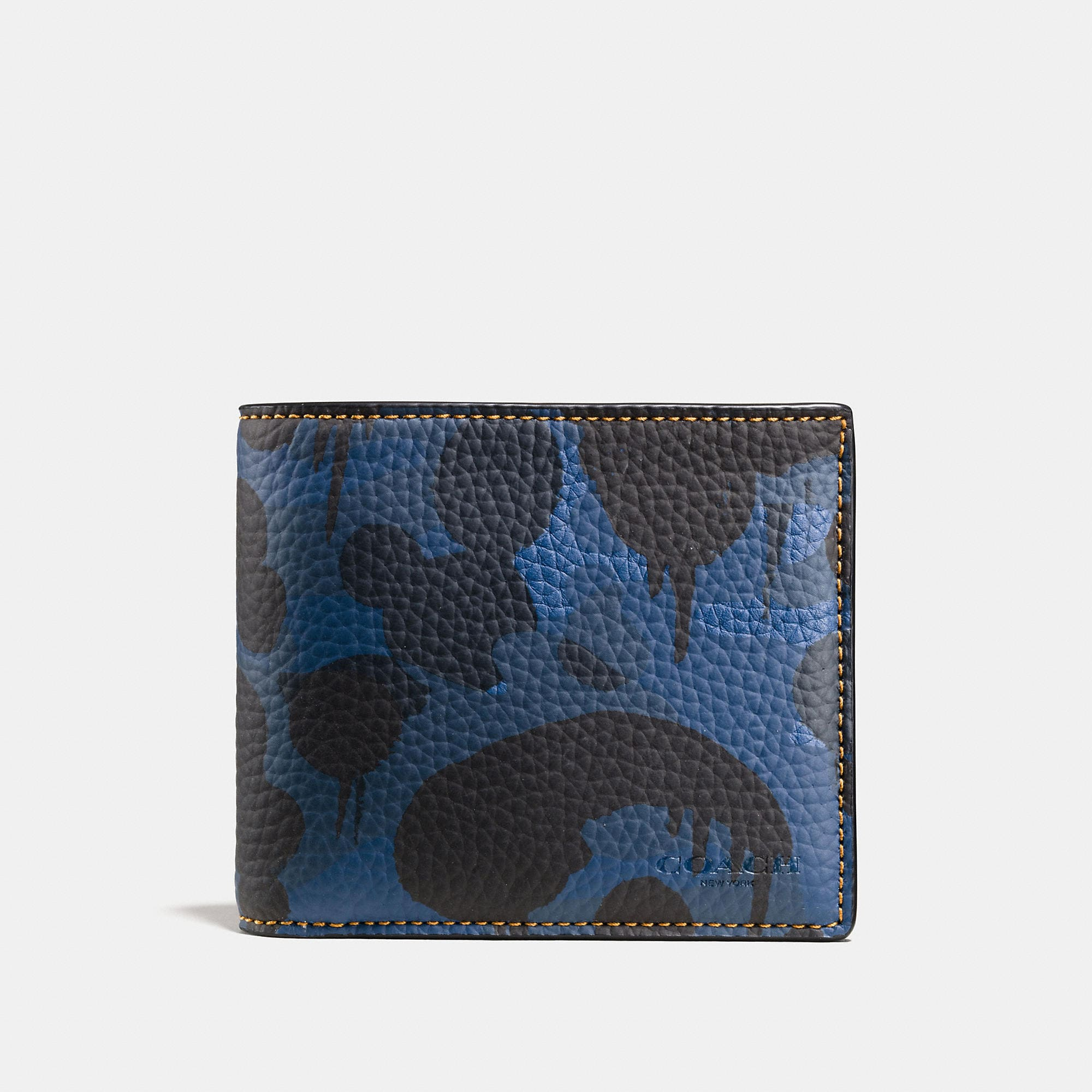 Coach Compact Id Wallet In Wild Beast Camo Print Pebble Leather