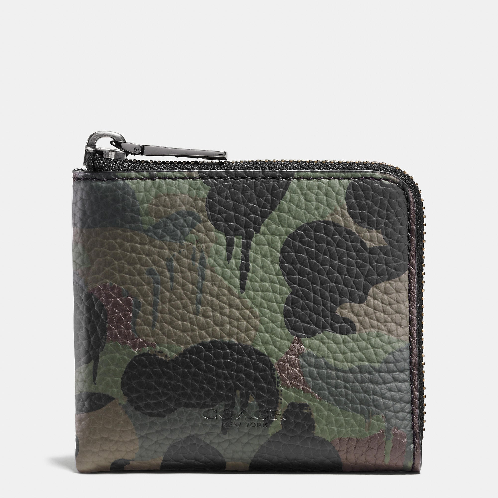 Coach Half Zip Wallet In Wild Beast Camo Print Pebble Leather