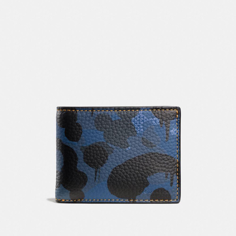 Slim Billfold Wallet in Wild Beast Camo Print Leather