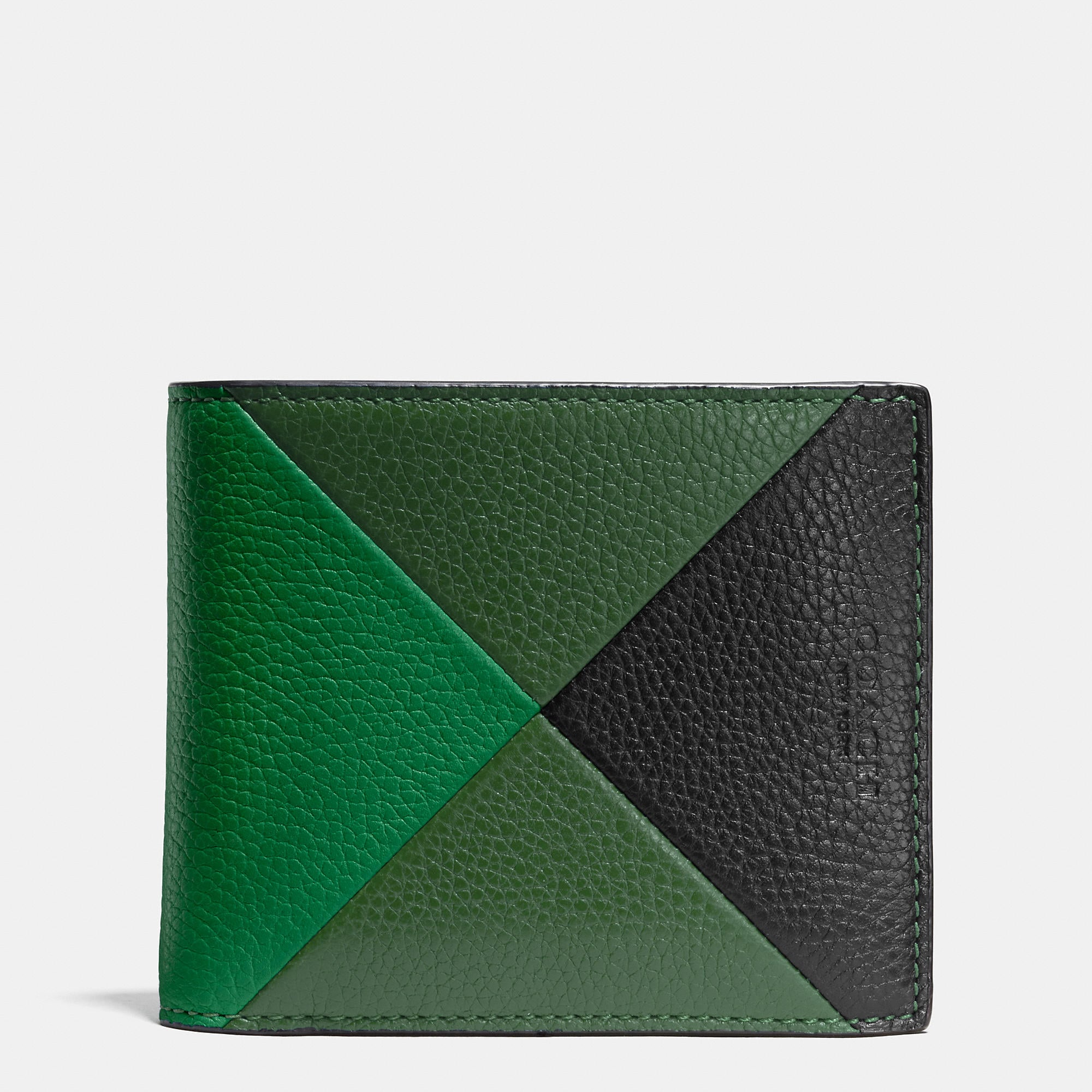 Coach Compact Id Wallet In Patchwork Pebble Leather