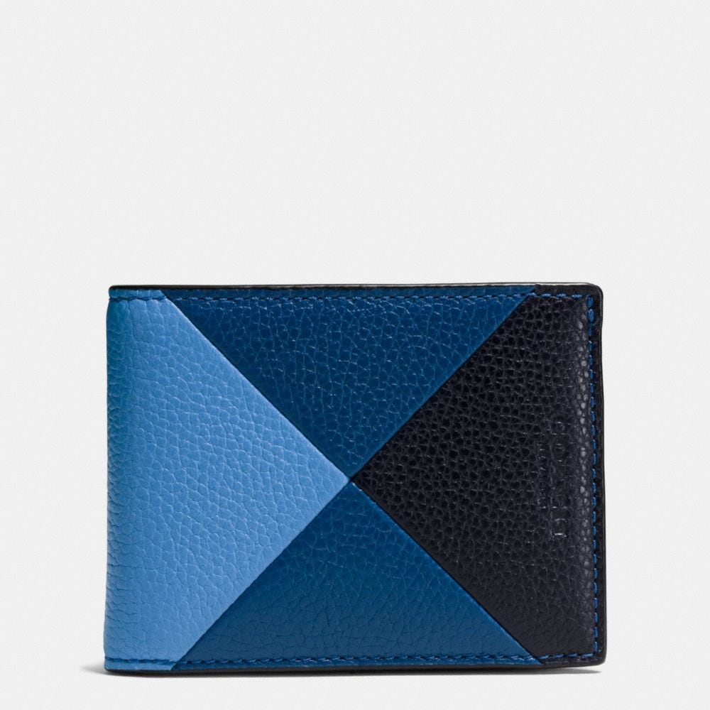 SLIM BILLFOLD WALLET IN PATCHWORK PEBBLE LEATHER