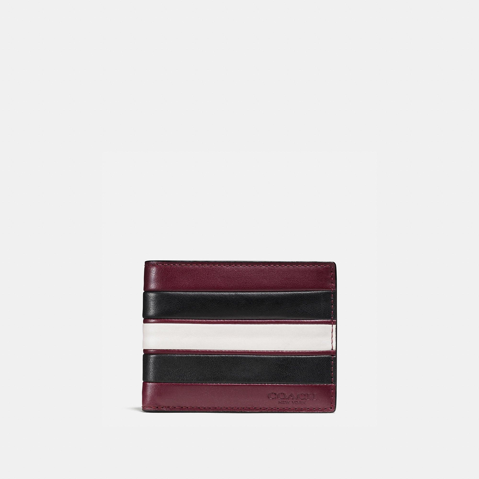 Coach Modern Varsity Stripe Slim Billfold Wallet In Smooth Leather