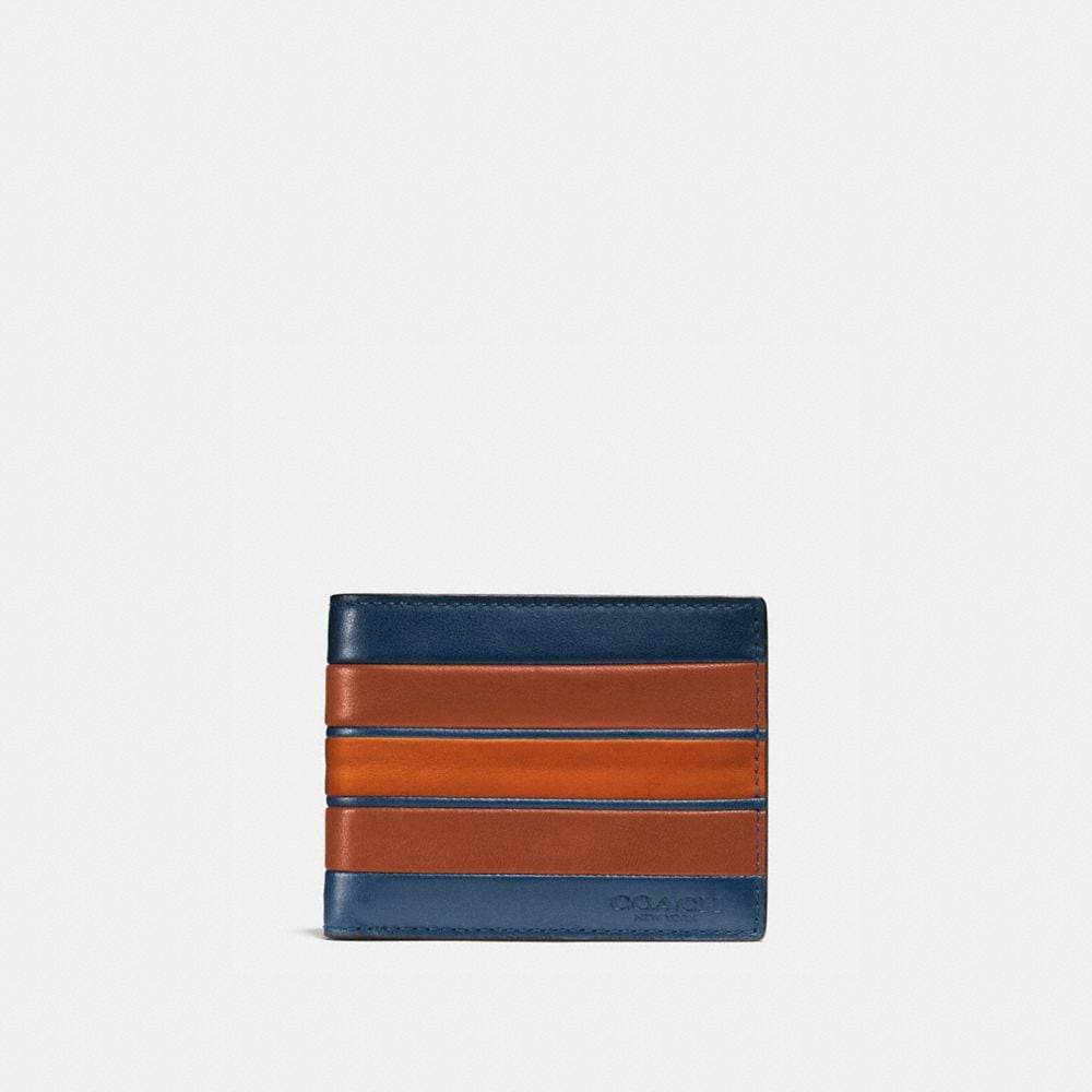 MODERN VARSITY STRIPE SLIM BILLFOLD WALLET IN SMOOTH LEATHER