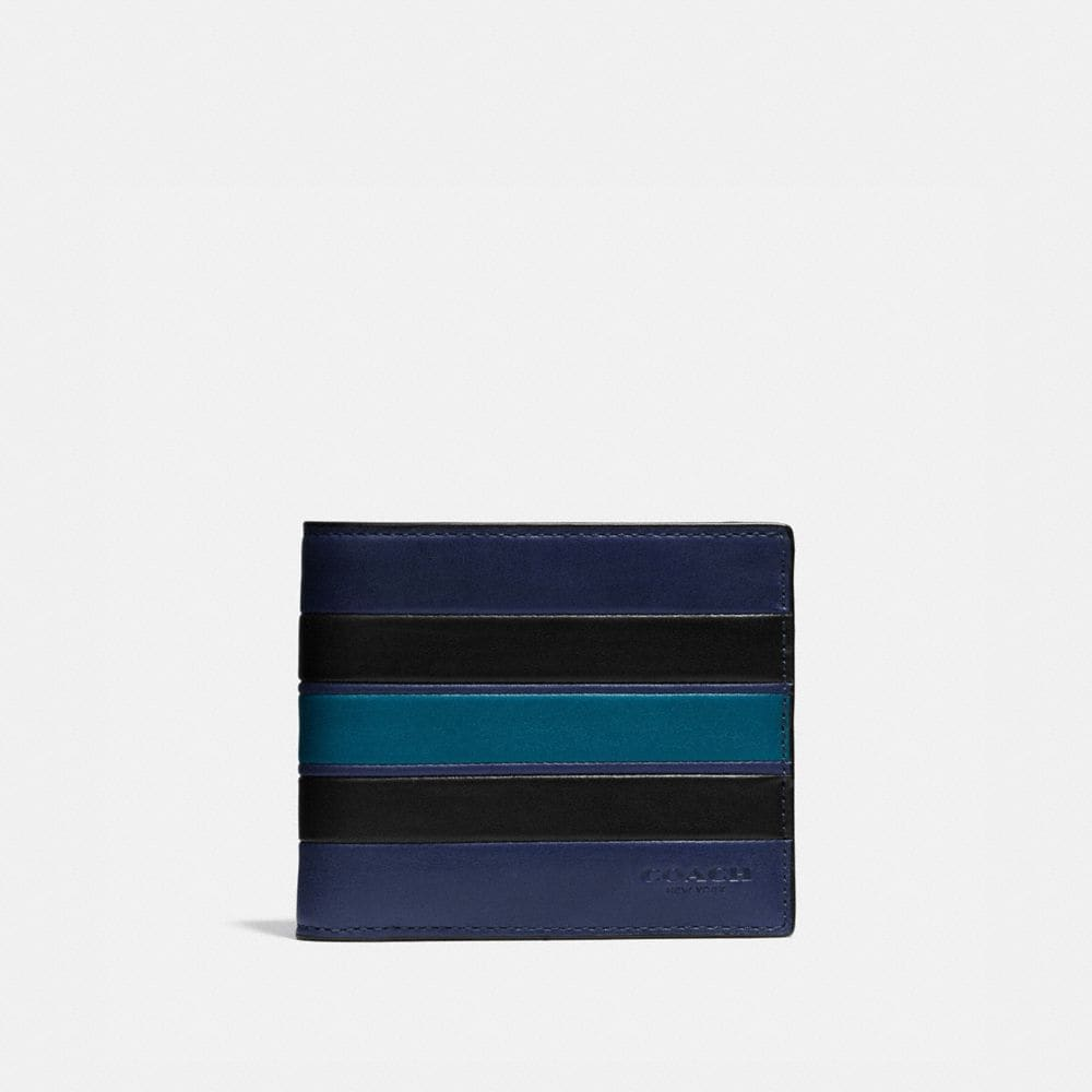 3-IN-1 WALLET IN SMOOTH LEATHER WITH VARSITY STRIPE