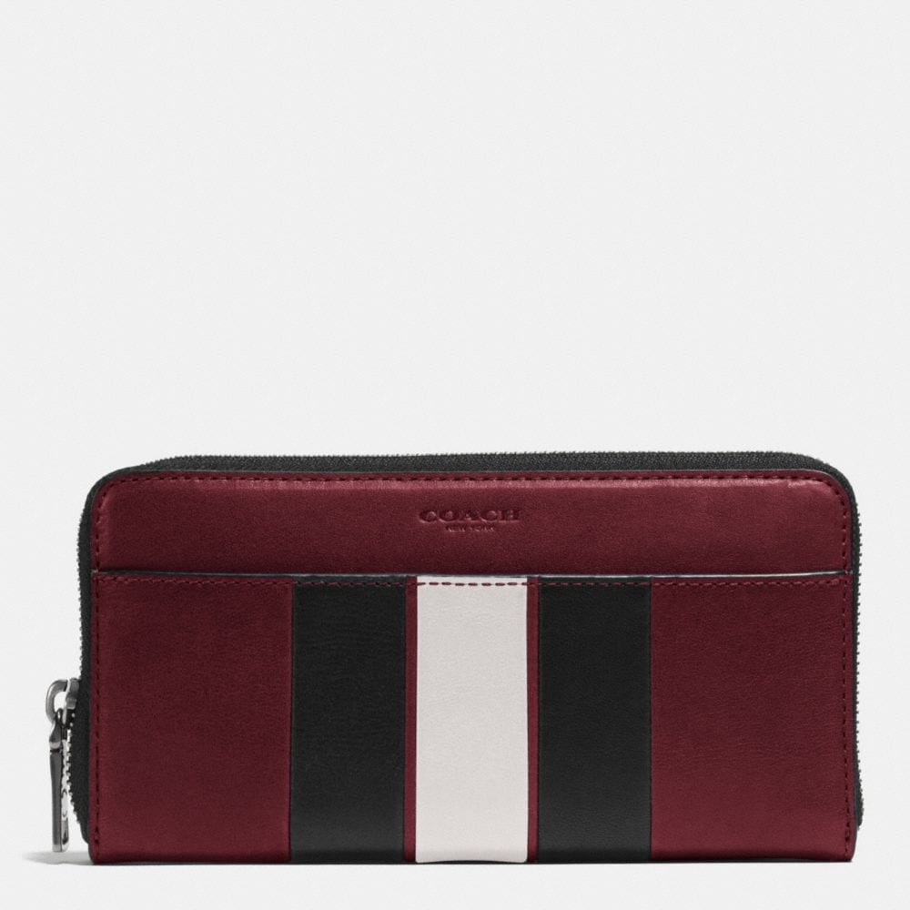 MODERN VARSITY STRIPE ACCORDION WALLET IN SMOOTH LEATHER