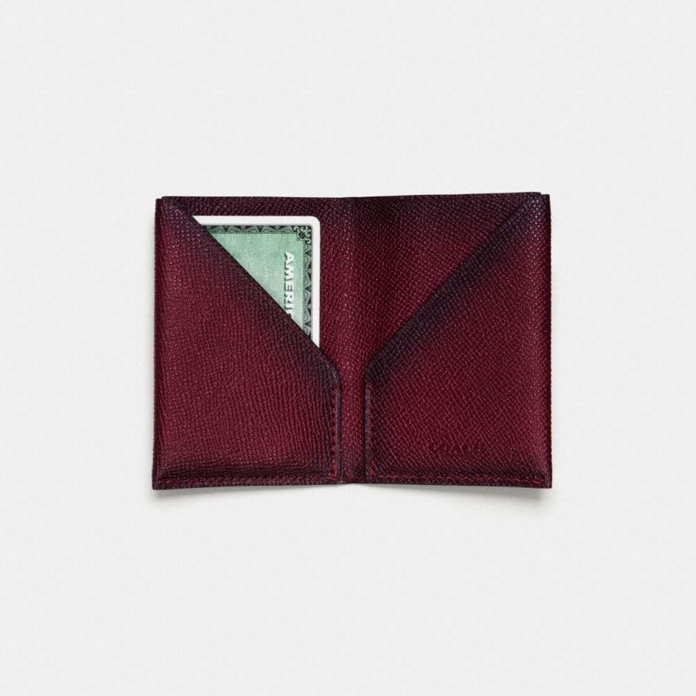 SLIM CARD WALLET IN BURNISHED CROSSGRAIN LEATHER - Alternate View L1