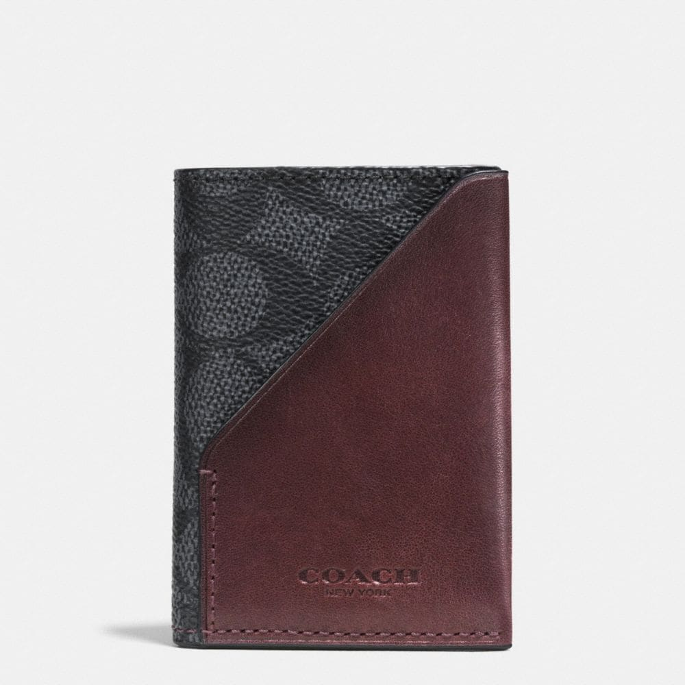 SLIM CARD WALLET IN SIGNATURE COATED CANVAS