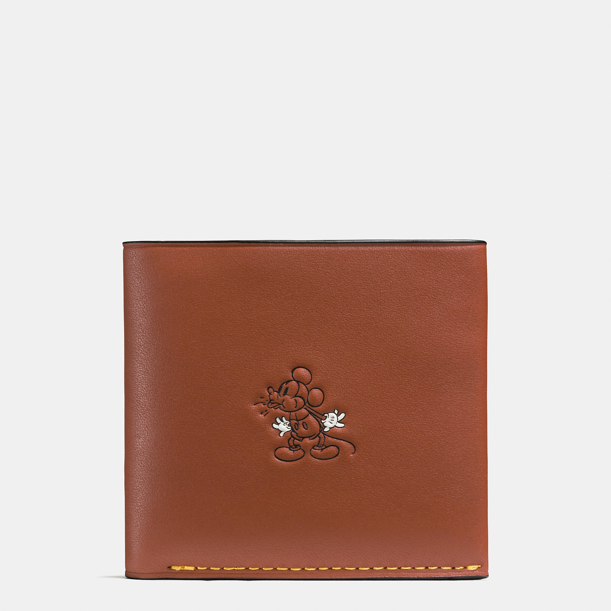 Coach Mickey Double Billfold Wallet In Glovetanned Leather - Disney