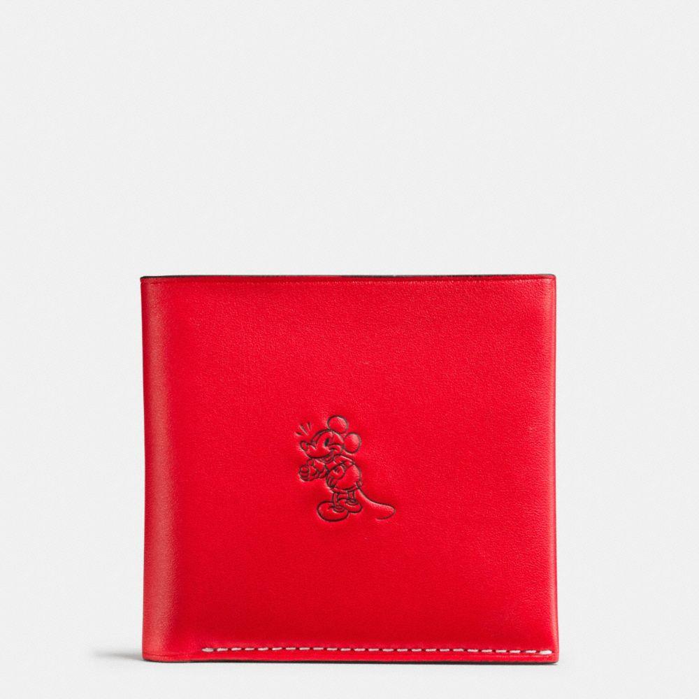 Coach Mickey Double Billfold Wallet in Glovetanned Leather