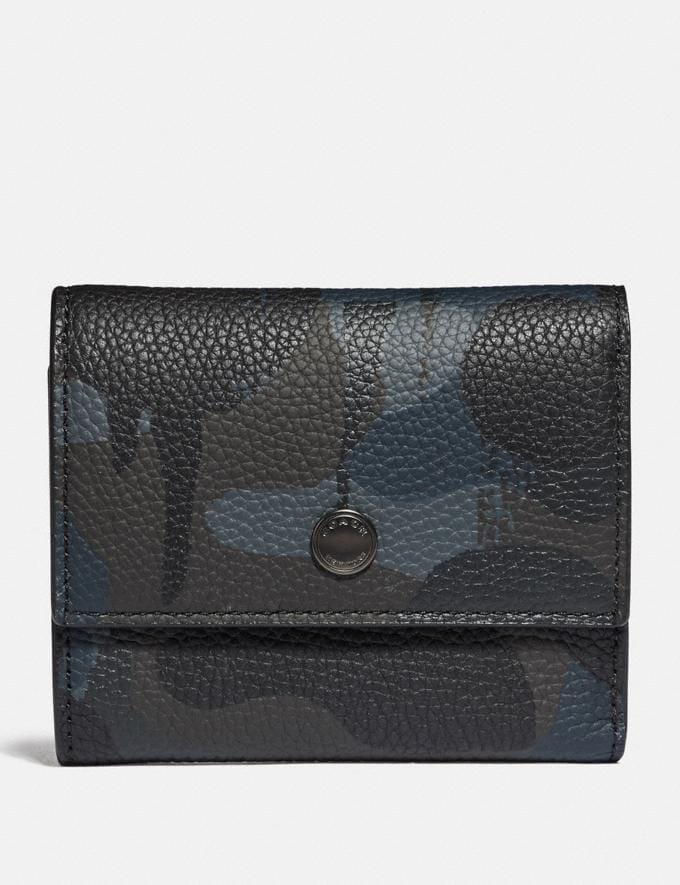 Coach Trifold Snap Wallet With Wild Beast Print Navy