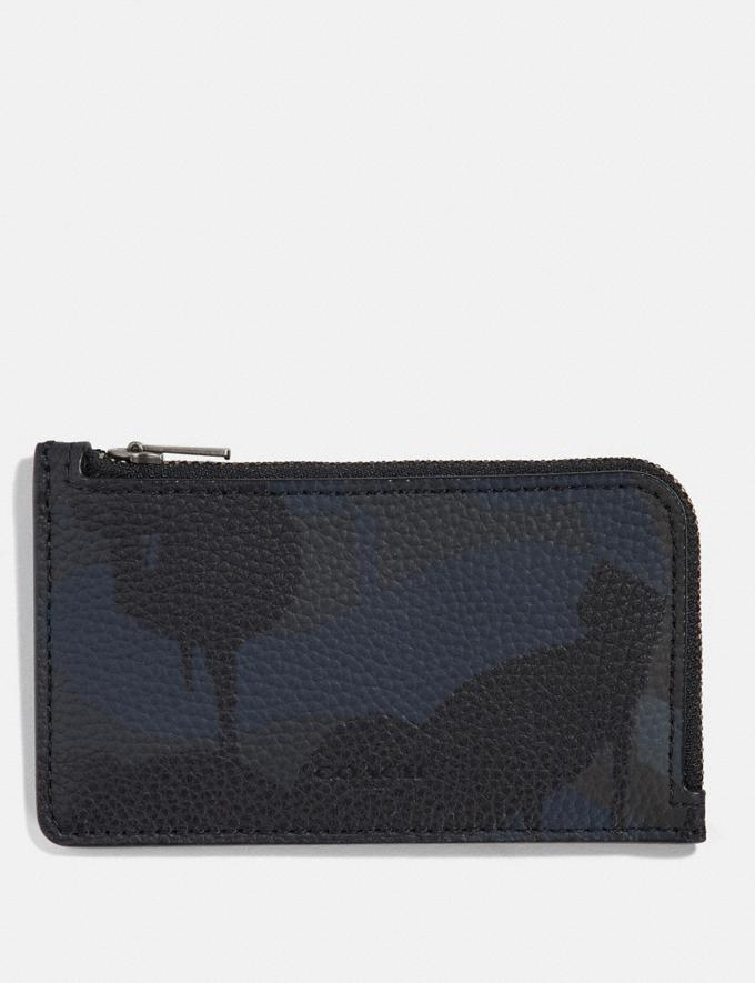 Coach L-Zip Card Case With Wild Beast Print Navy Men Wallets Card Cases