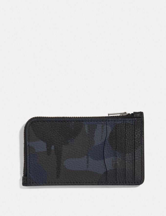 Coach L-Zip Card Case With Wild Beast Print Navy Men Wallets Card Cases Alternate View 1
