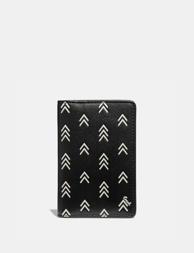 Coach Card Wallet With Line Arrow Print Black/Chalk Men Wallets Card Cases