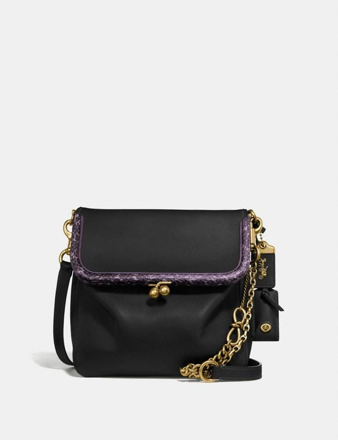 Coach Rider Bag 24 With Snakeskin Detail Black/Brass