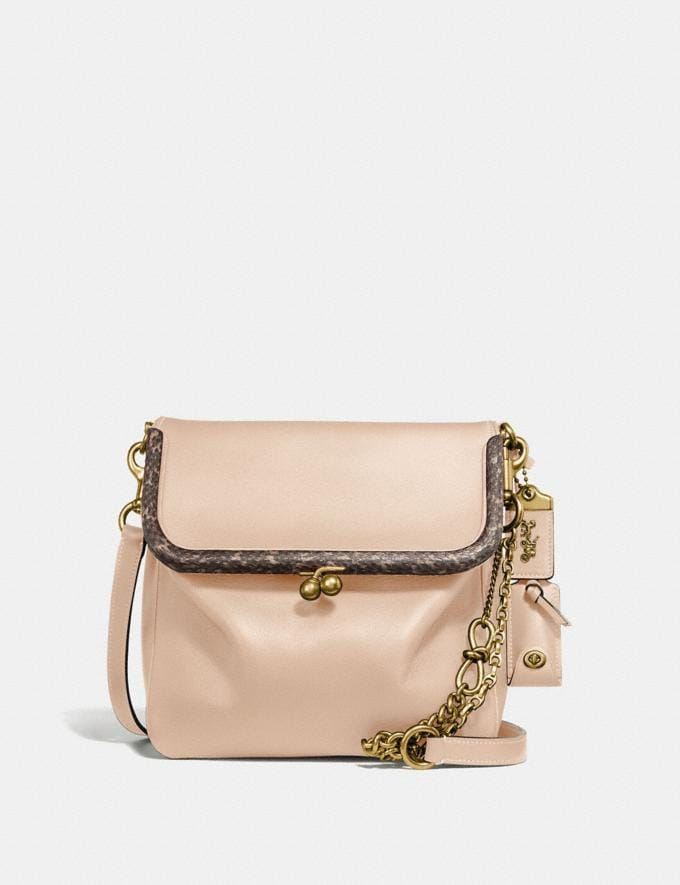 Coach Rider Bag 24 With Snakeskin Detail Sand/Brass Women Bags Crossbody Bags