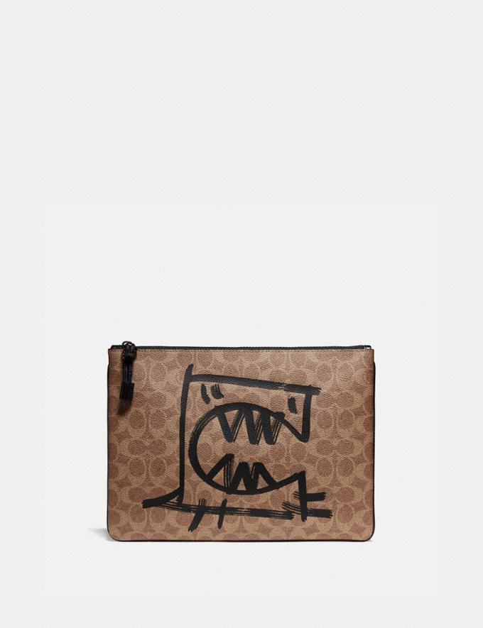 Coach Pouch 30 in Signature Canvas With Rexy by Guang Yu Khaki New Men's New Arrivals Collection