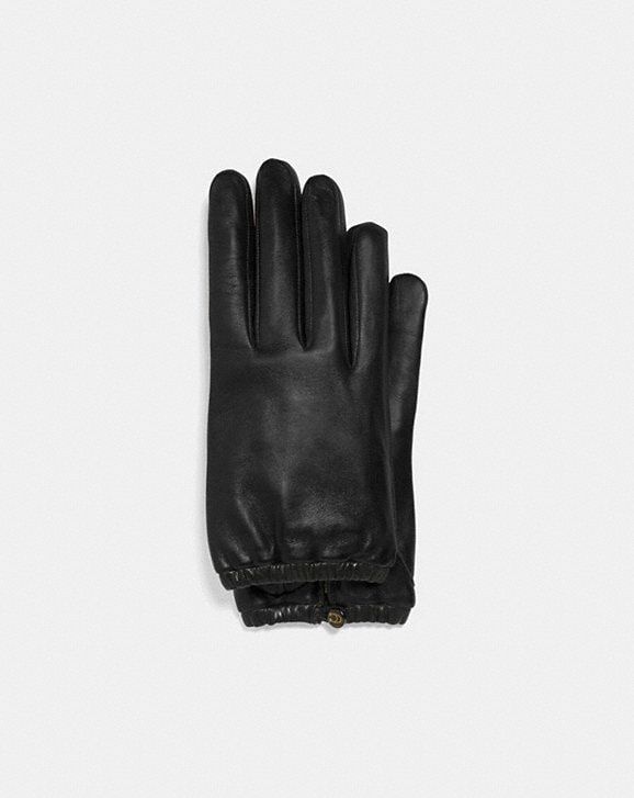 Coach SCULPTED SIGNATURE GATHERED LEATHER TECH GLOVES