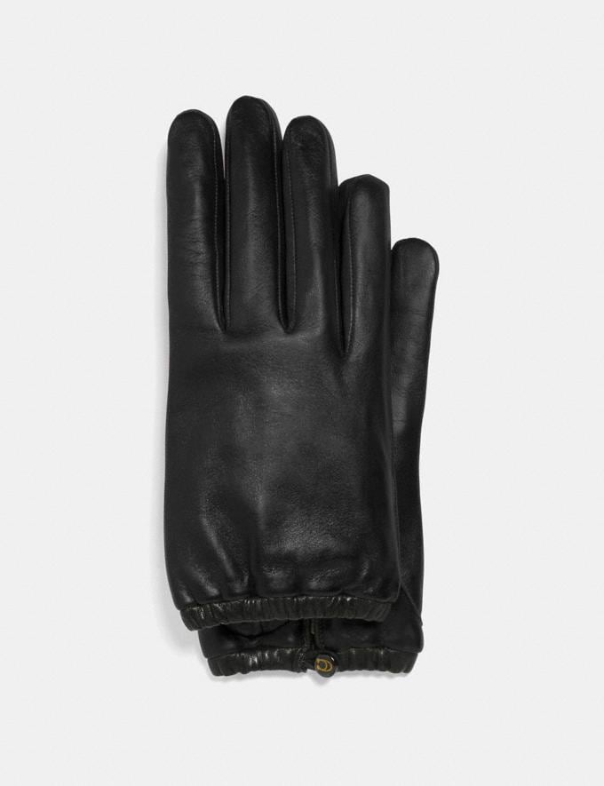 Coach Sculpted Signature Gathered Leather Tech Gloves Black Women Accessories Hats, Scarves & Gloves