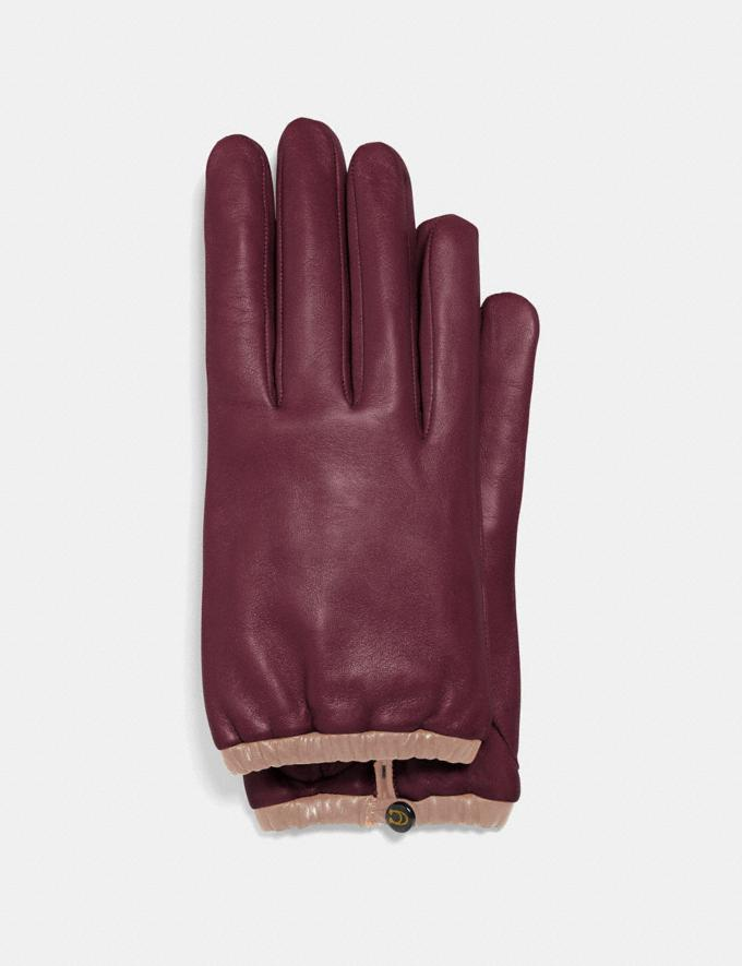 Coach Sculpted Signature Gathered Leather Tech Gloves Vintage Mauve Women Edits Cold Weather Edit