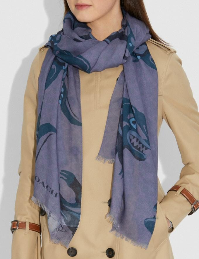 Coach Signature Scarf With Rexy by Zhu Jingyi Purple New Featured Rexy Collection Alternate View 1
