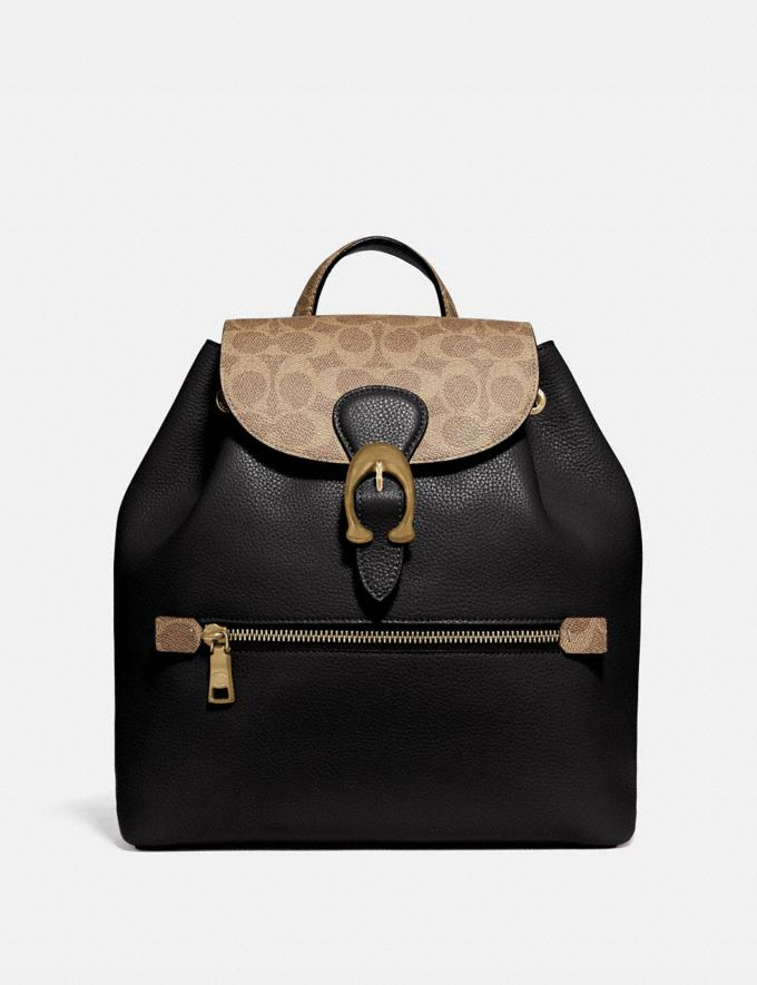Coach Evie Backpack With Signature Canvas Blocking Tan Black/Brass New Featured Signature Styles