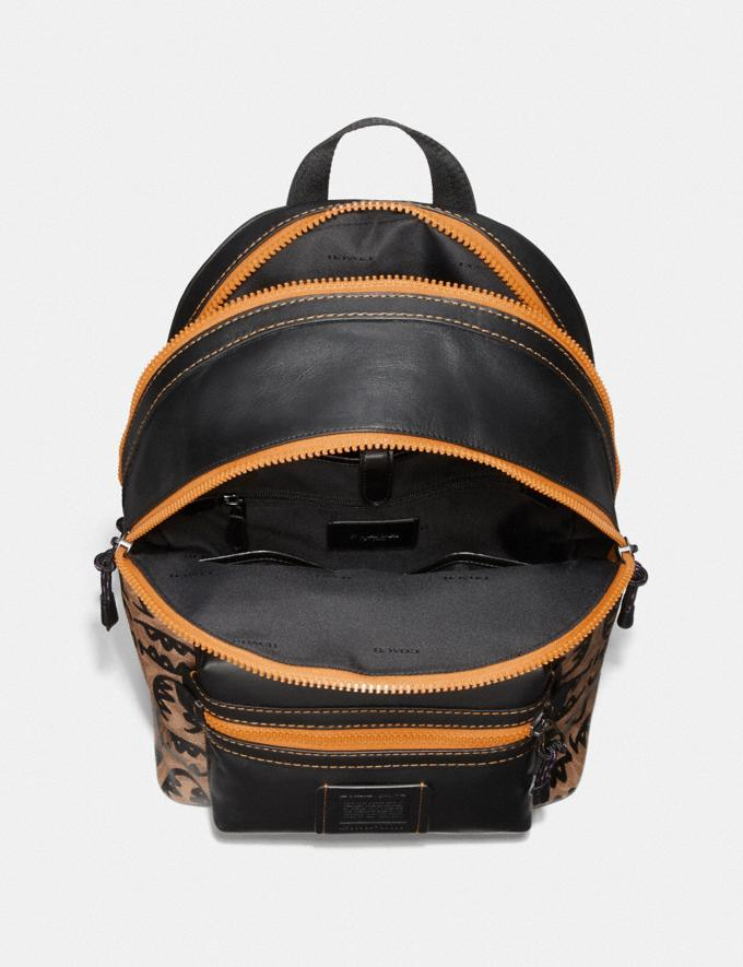 Coach Academy Backpack in Signature Canvas With Rexy by Guang Yu Khaki/Black Copper New Featured Rexy Collection Alternate View 2