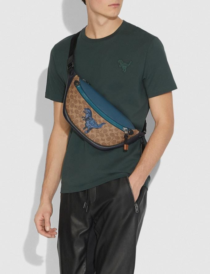 Coach Rivington Belt Bag in Signature Canvas With Rexy by Zhu Jingyi Khaki/Black Copper New Men's New Arrivals Collection Alternate View 3