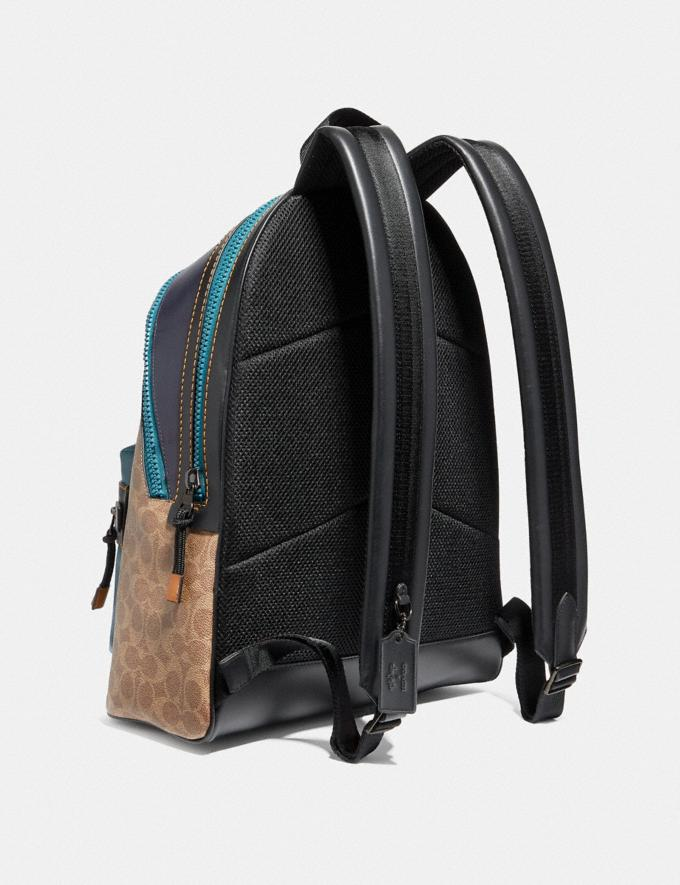 Coach Academy Backpack in Signature Canvas With Rexy by Zhu Jingyi Khaki/Black Copper SALE Men's Sale Alternate View 1