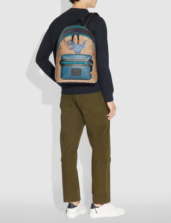 Coach Academy Backpack in Signature Canvas With Rexy by Zhu Jingyi Khaki/Black Copper SALE Men's Sale Alternate View 3