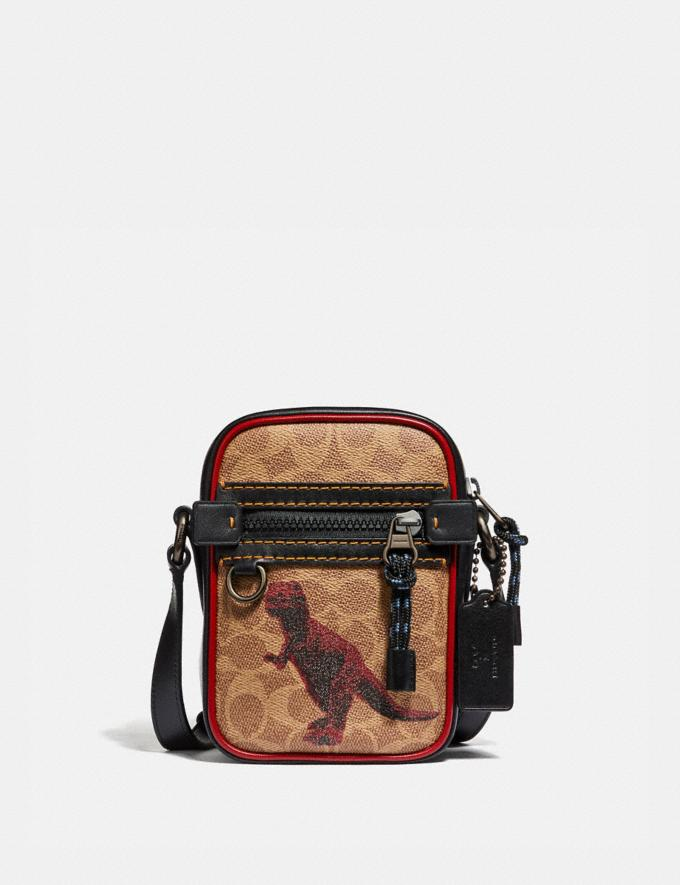 Coach Dylan 10 in Signature Canvas With Rexy by Sui Jianguo Khaki/Black Copper Men Bags Messenger & Crossbody