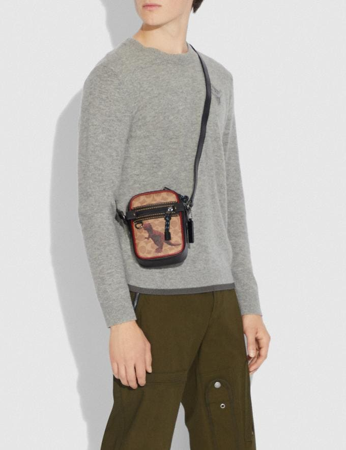 Coach Dylan 10 in Signature Canvas With Rexy by Sui Jianguo Khaki/Black Copper Men Bags Messenger & Crossbody Alternate View 3
