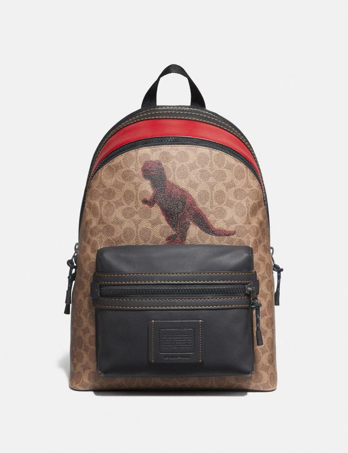 Coach Academy Backpack in Signature Canvas With Rexy by Sui Jianguo Khaki/Black Copper New Men's New Arrivals Collection