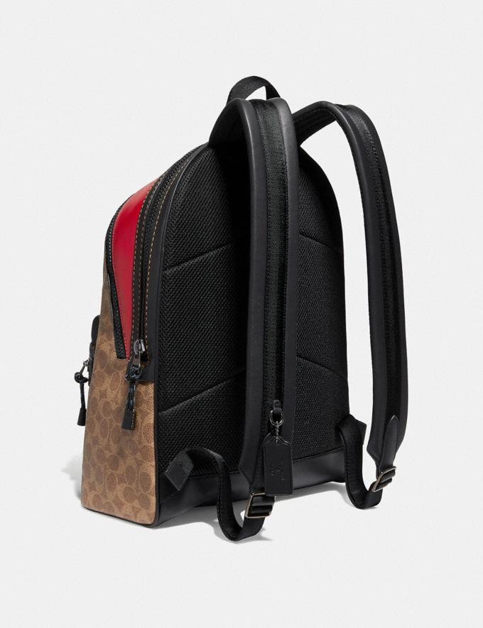 Coach Academy Backpack in Signature Canvas With Rexy by Sui Jianguo Khaki/Black Copper Men Bags Backpacks Alternate View 1