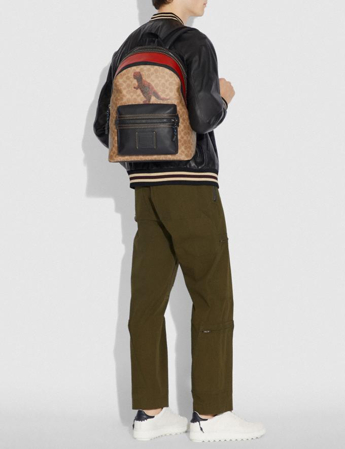 Coach Academy Backpack in Signature Canvas With Rexy by Sui Jianguo Khaki/Black Copper Men Bags Backpacks Alternate View 3