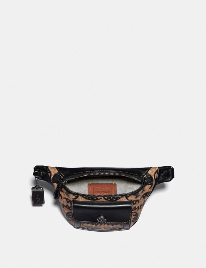 Coach Riley Belt Bag in Signature Canvas With Rexy by Guang Yu Khaki/Black Copper Finish New Featured Rexy Collection Alternate View 2