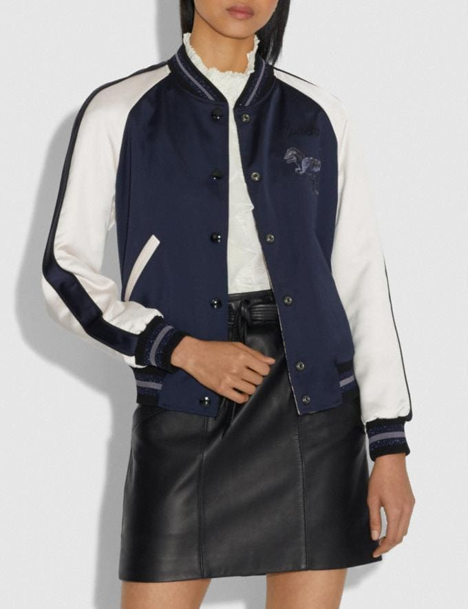 Coach Rexy by Zhu Jingyi Reversible Varsity Jacket Navy/Khaki SALE Women's Sale Ready-to-Wear Alternate View 1