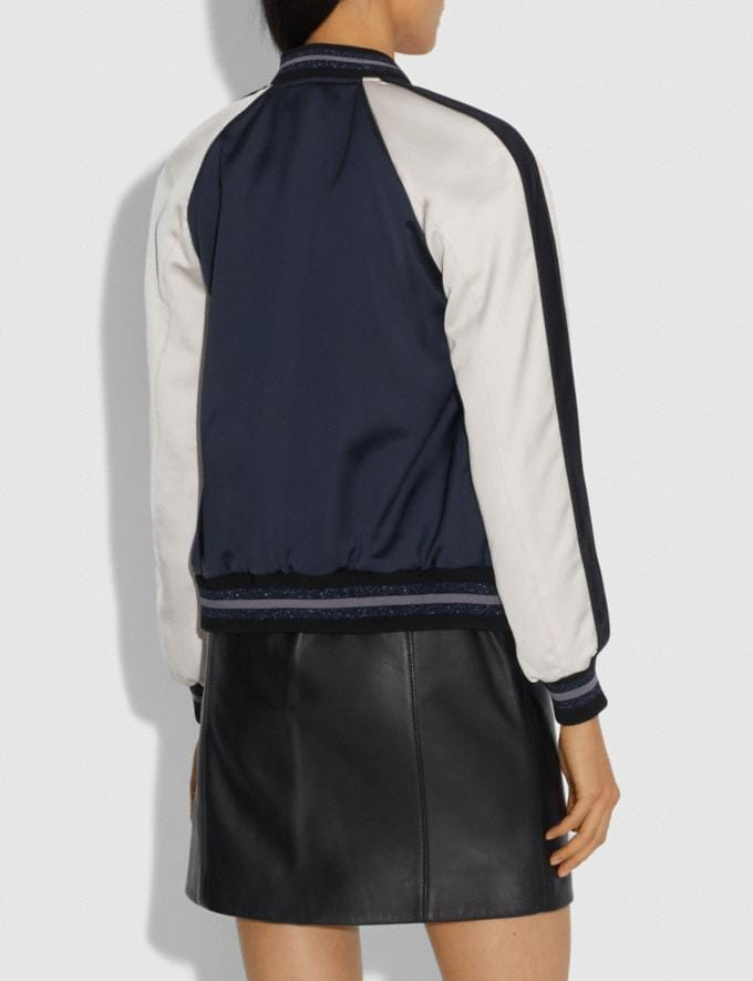 Coach Rexy by Zhu Jingyi Reversible Varsity Jacket Navy/Khaki SALE Women's Sale Ready-to-Wear Alternate View 2
