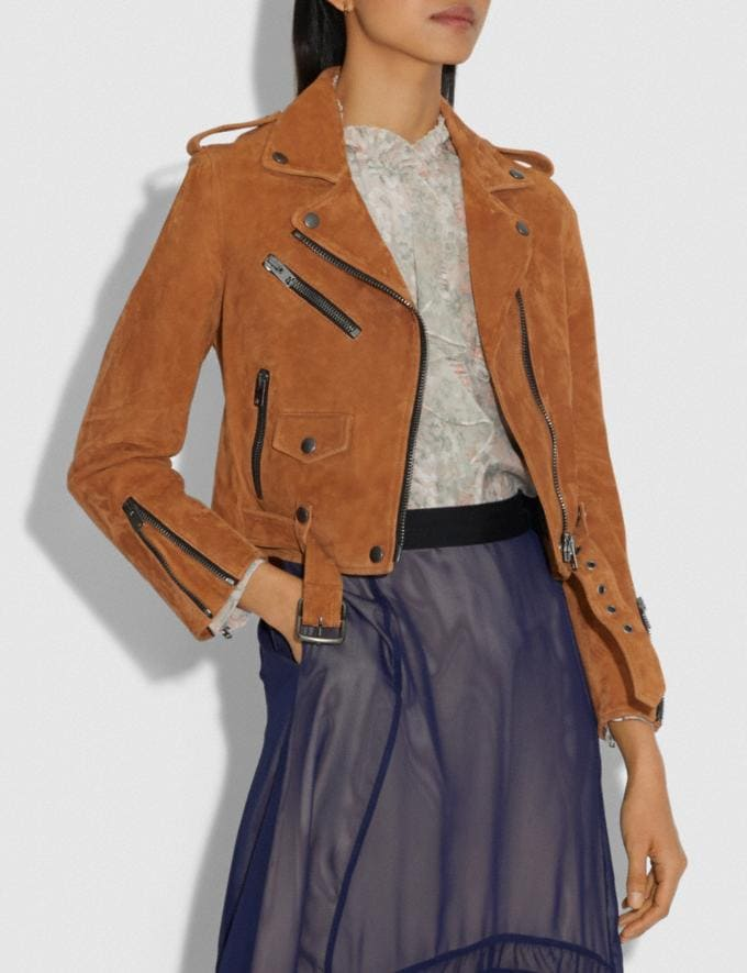 Coach Suede Mini Biker Jacket Canyon DEFAULT_CATEGORY Alternate View 1