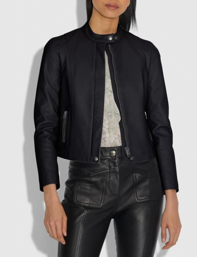 Coach Leather Racer Jacket Black Women Ready-to-Wear Coats & Jackets Alternate View 1