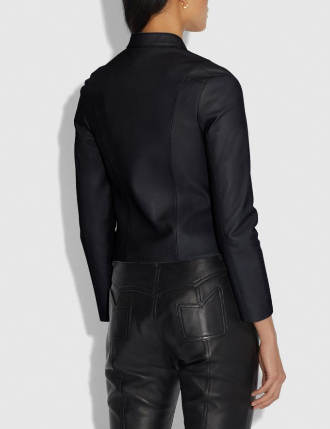 Coach Leather Racer Jacket Black Women Ready-to-Wear Coats & Jackets Alternate View 2