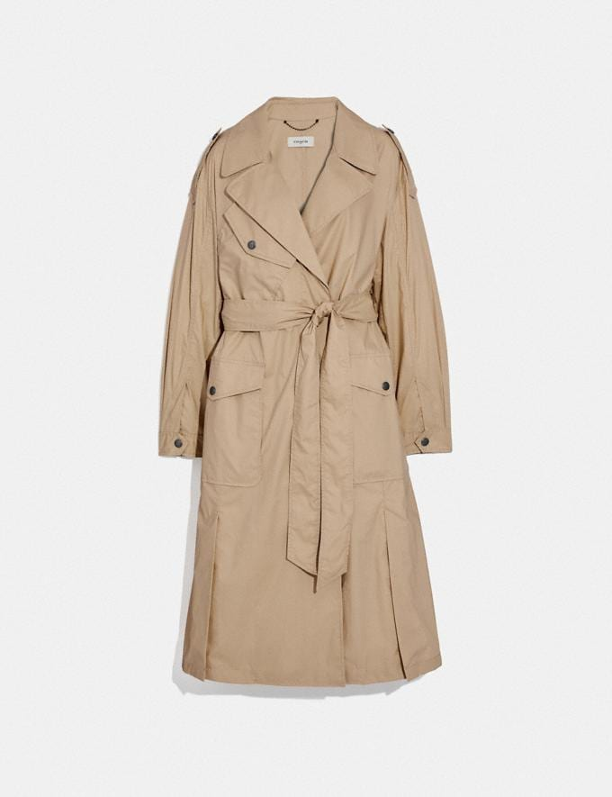 Coach Oversized Trench Classic Khaki Women Ready-to-Wear Jackets & Outerwear