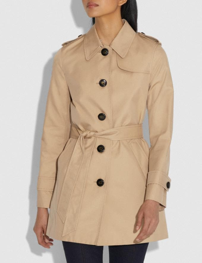 Coach Tie Waist Trench Khaki Women Ready-to-Wear Jackets & Outerwear Alternate View 1