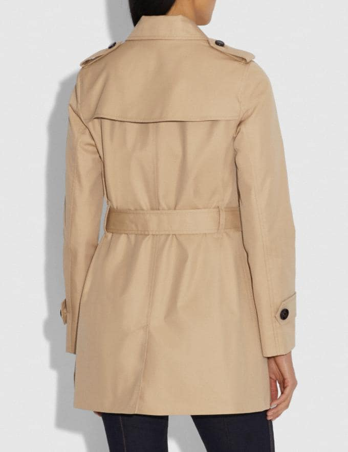 Coach Tie Waist Trench Khaki Women Ready-to-Wear Jackets & Outerwear Alternate View 2