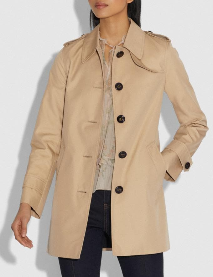 Coach Tie Waist Trench Khaki Women Ready-to-Wear Jackets & Outerwear Alternate View 3