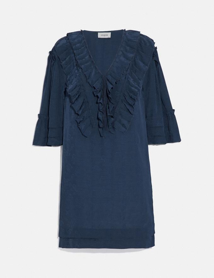 Coach Short Glam Rock Prairie Dress With Ruffles Navy Women Ready-to-Wear Dresses