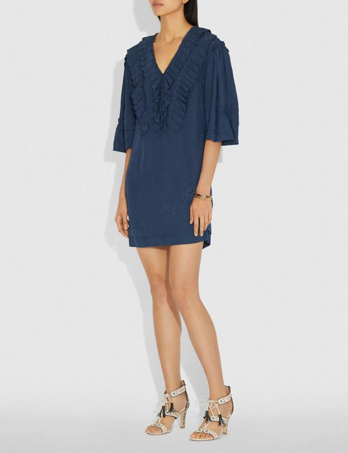 Coach Short Glam Rock Prairie Dress With Ruffles Navy Women Ready-to-Wear Dresses Alternate View 1