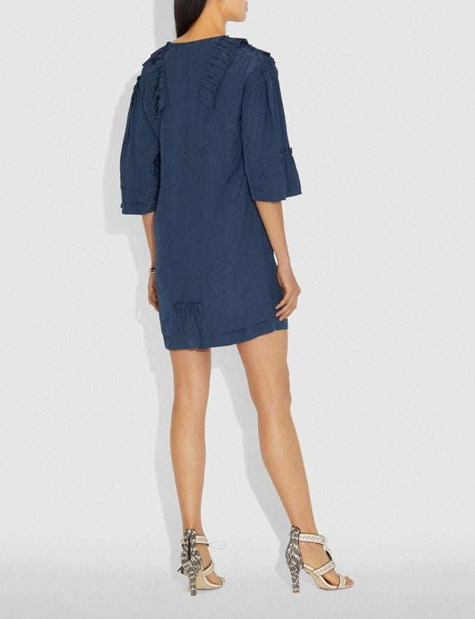 Coach Short Glam Rock Prairie Dress With Ruffles Navy Women Ready-to-Wear Dresses Alternate View 2